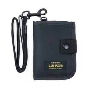 Matchwood Design Matchwood Element City Leisure Zipper Ticket Card Storage Bag Coin Purse Neck Bag Key Bag Cardholder Document Set Military Black (with Lanyard)