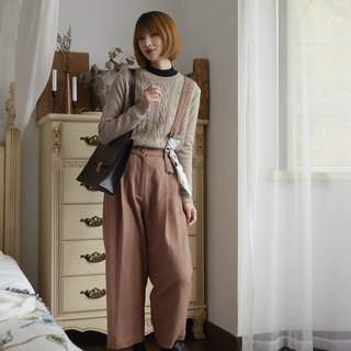 Two-tone high-rise bib - light caramel | pants | autumn and winter models | wool blend | independent brand | Sora-210