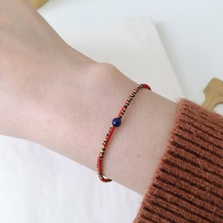 Lapis Stone mix Handmade Wax Line Bracelet Red Line Bracelet Red Line Lapis Laureate Peace Pray Gift Girlfriends Couple Wax Line Lucky Band