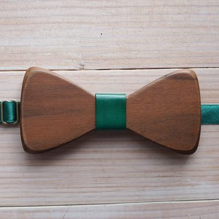 Natural Log Bow Tie - Walnut + Blue Leather (Gift / Wedding / Newcomer / Official / Valentine's Day)