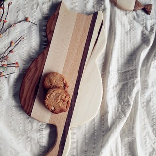 [Original.] Wood color good food _ hand-made wooden meal board (cat type)