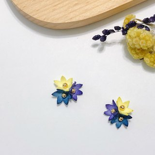 White 昼 star flower hand made flower cloth flower stickers ear limited edition ear pin / ear clip