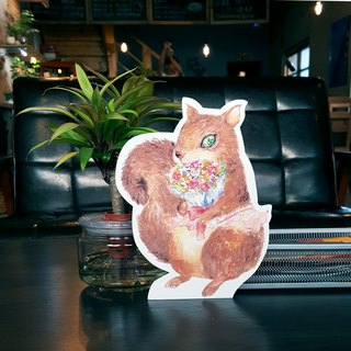 Paper words teaser squirrel decoration postcard (Giant Card + Envelope)