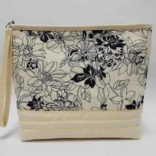 Cream color printed of lined with resin cotton cosmetic bag / Multifunction bag / Handbag