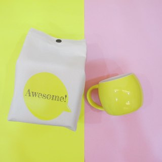 Customized - Macarons Stacked Mug Canvas Handle Folding Storage Bag - Toward Yellow