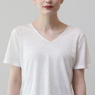 KOOW Nothing whitish white linen simple texture V-neck knit T-shirt
