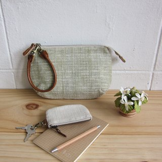 Multi Purpose Pouch with Leather Strap Botanical Dyed Cotton Green Color