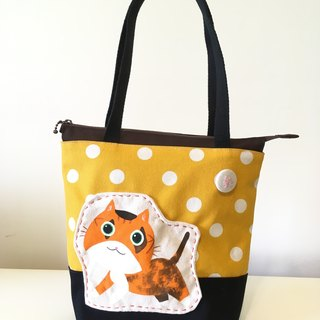 Cute collage wind rag bag - aunt & yellow bottom white dots