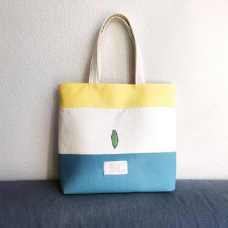 Color Patching of Lemon Yellow, Beige, Frozen Lake Blue- tote with pockets