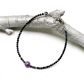 <Five Elements--Earth Energy Stone-Dream Amethyst>Dream Amethyst x Black Spinel 925 Sterling Silver Bracelet