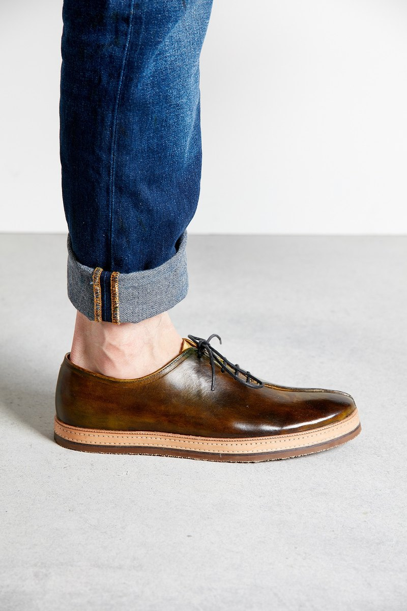 H THREE / Oxford shoes / men's shoes / flat / brown / tea brown