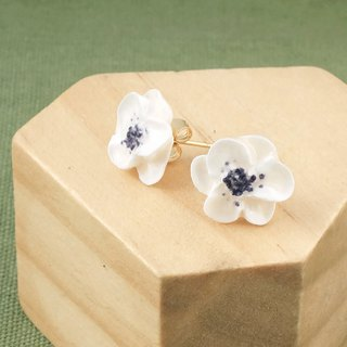Poppy Anemone Earrings/Clip on =Flower Piping= Customizable