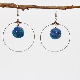 Planet earrings metal ring dangle earrings (ear hook / ear clip)