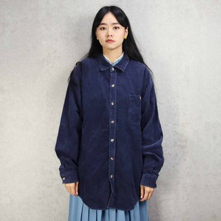 Tsubasa.Y Antique House A10 Dark Blue Thick Corduroy Shirt, Corduroy Shirt