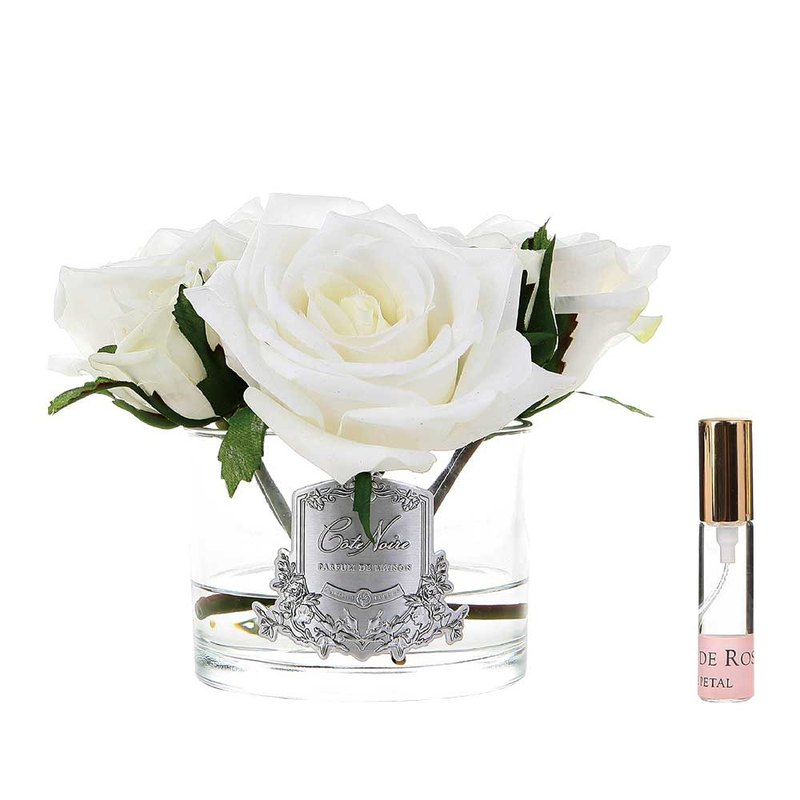 CoteNoire Fragrance Flower - Five Ivory White Rose Fragrance Flowers
