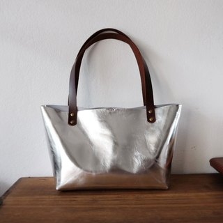 Mini Silver Leather Tote / Small Leather Bag