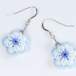 Baby blue earrings, flower jewelry, swarovski pearl, beaded floral earrings, 384