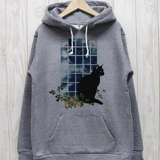 Standing black cat Parka Window side MOON (Heather Gray) / RPP 016 - GR