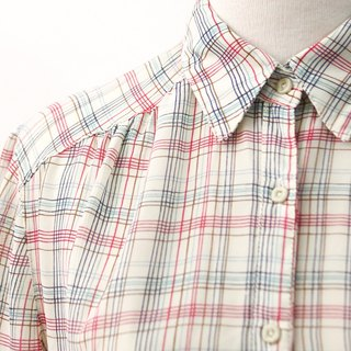 Vintage Japanese Made Check Plaid Beige Short Sleeve Vintage Shirt Japanese Vintage Blouse