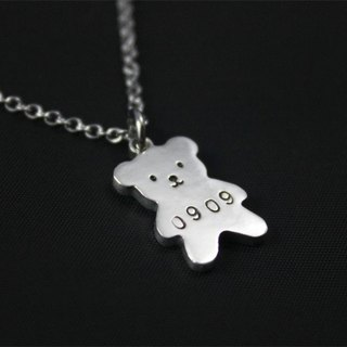 Ohappy Knocking Series | Birthday Bear Sterling Silver Stainless Steel Necklace