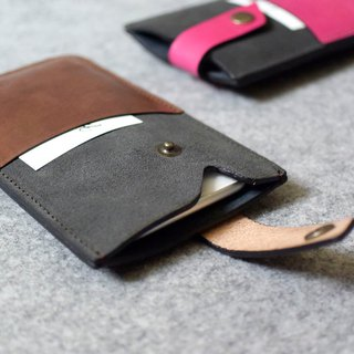 YOURS mix and match concept diagonal pocket phone holster gray suede + deep wood leather iphone6