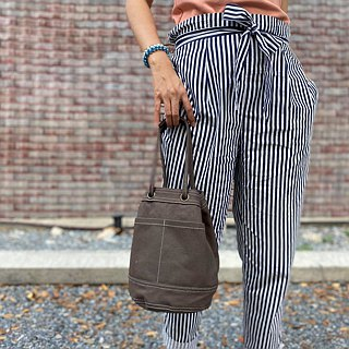 Mini Grey Canvas Bucket Bag with strap /Leather Handles /Daily use