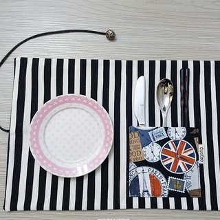 Green tableware storage bag table mat placemat picnic mat green chopsticks group stripe popular style