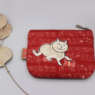 Peaceful little bag - Christmas cat and gift (a white cat), double-sided two-color Japanese cotton and linen small wallet