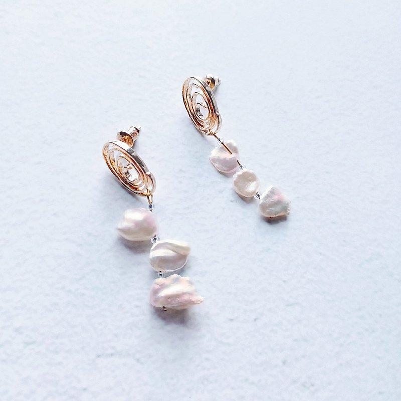 捲捲棉花雲/耳環/耳夾/淡水珍珠/耳針/黃銅