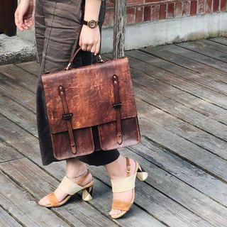 Replica old hand dyed leather briefcase can be customized