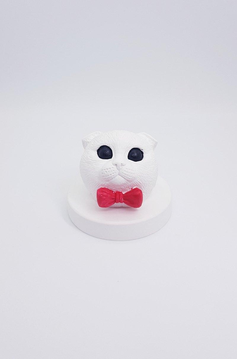 摺耳貓咪頭擴香石含底座--生日禮-畢業禮物-情人節禮物