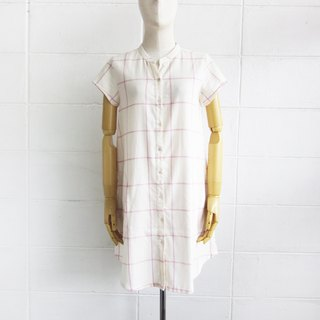 Sweet Journey #3 / Pink Check Short Sleeve Dresses Botanical Dyed Cotton