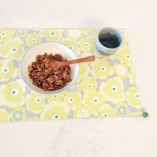Handmade Placemat - Tarpaulin - Wool Felt Ball - Yellow Flower Pattern