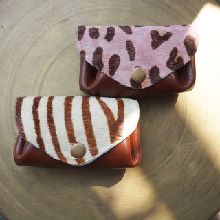 [New color listed] three-layer fan-shaped wallet / leisure card package - animal print