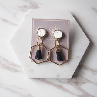 Small Teng round geometry hexagonal small tassel alloy earrings and gifts