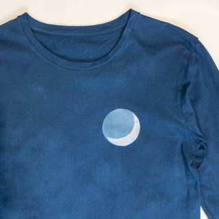 Indigo dyed Aizen - BLUE MOON Long Sleeve Crew TEE
