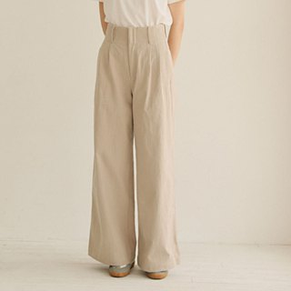 Under the beige neck, all the legs are lined with a belt, high waist, super long, extra long linen, wide-leg wide pants.