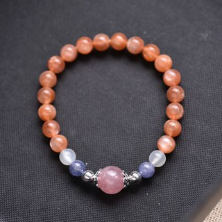 Falklands rose quartz*Tanzanite*Orange Moonstone Bracelet