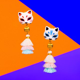 Japanese Shrine Wind Earrings - Mysterious Cat Mask for Cat Face