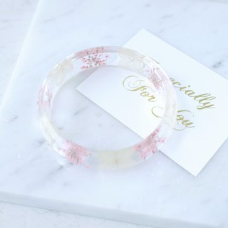 Spot eternal life without flower hydrangea resin crystal amber bracelet jewelry gift box card light pink girl