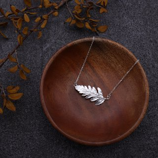 Rumohra Adiantiformis Leaf Silver Necklace - Nature Plant