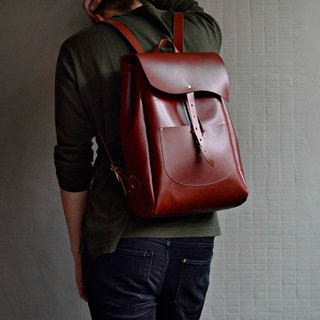 [CC idol burden] leather backpack red brown leather travel abroad to adjust the length of the search for free L number