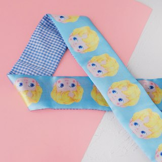 This hand made original handmade blue doll rabbit ear hair band