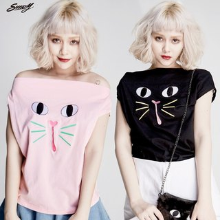 SSSSEXY CATGIRL TEE (black) (powder)