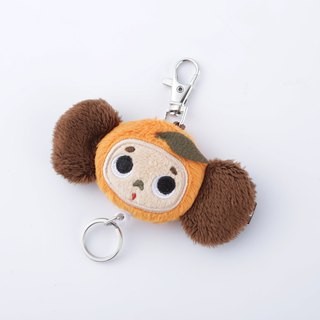 Large ears cloth zipper retractable key ring - orange section