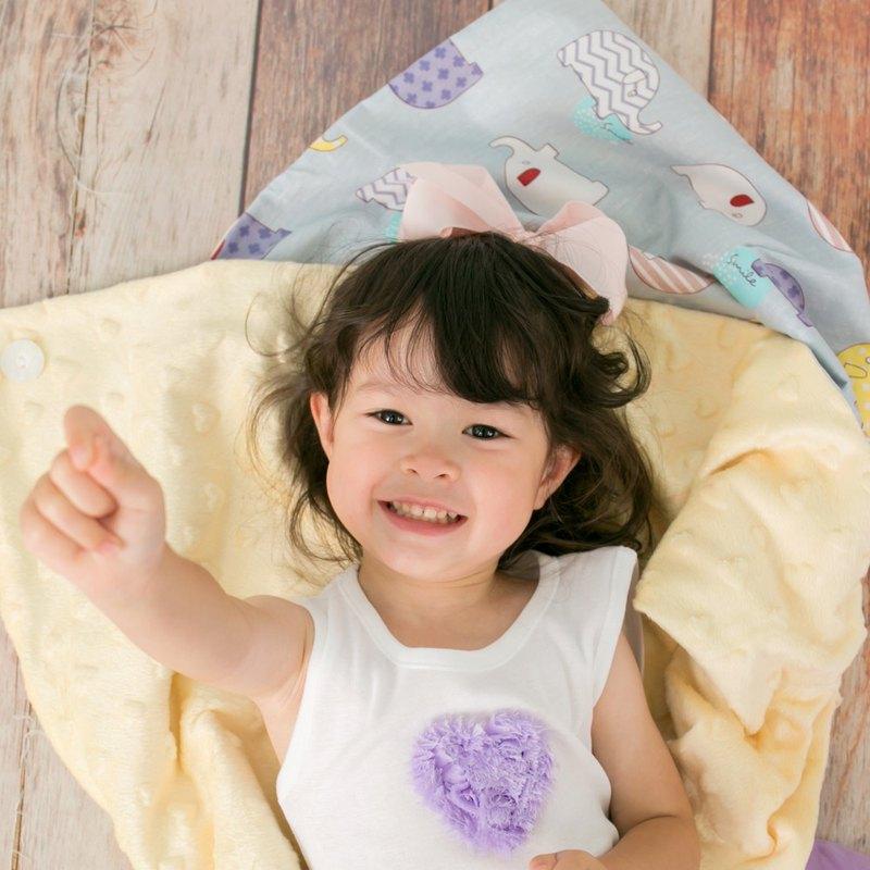 Minky多功能 點點顆粒 攜帶毯嬰兒毯冷氣毯被 鵝黃-大象