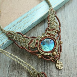 Misssheep N31-Labradorite Macrame Necklace, Bohemian jewelry