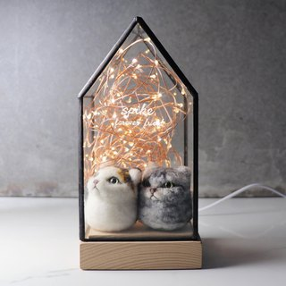 Christmas gift [waiting for you to go home] glass carving house lamp + cat pill dog pill custom pet night light