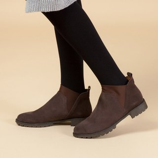 [English memories] stretch Lycra simple leather ankle boots - chocolate