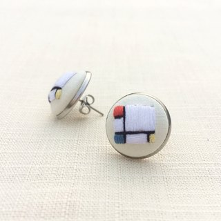 Mondrian embroidery earrings